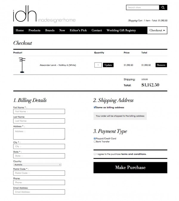 eCommerce Checkout Design