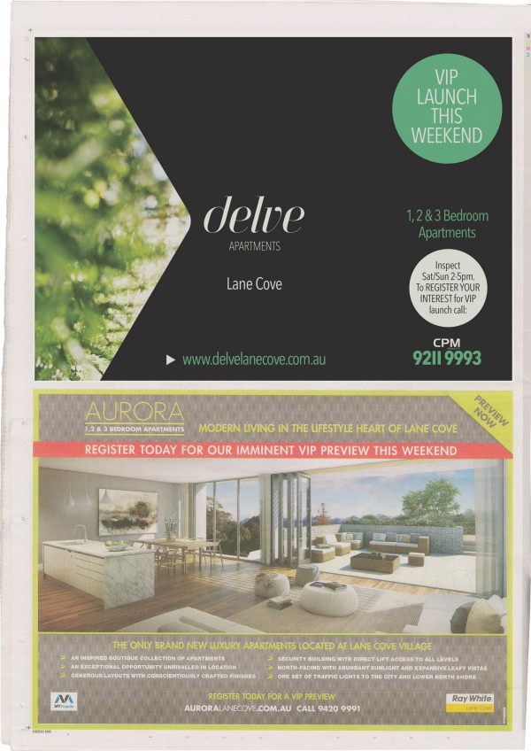 Delve Apartments Newspaper Ad